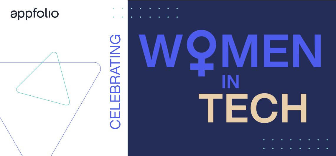 Celebrating Women in Tech; a white background with two triangles; a dark blue background with turquoise dots.